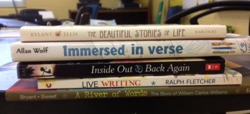 Book spine poem immersed