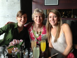 Katherine, me, and Maggie with mimosas for Mother's Day.