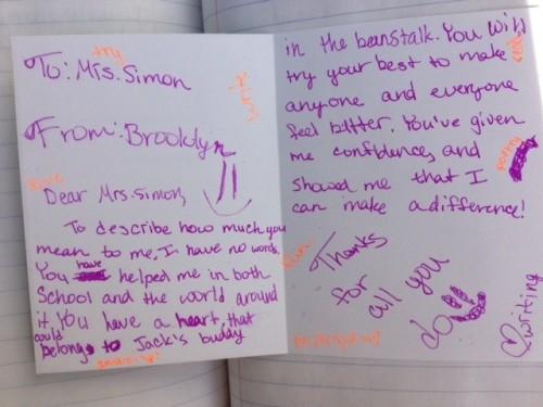 Teacher appreciation note
