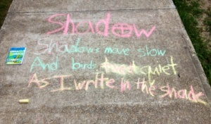 Shadows move slow and birds tweet quiet I write in the shade. Kylon