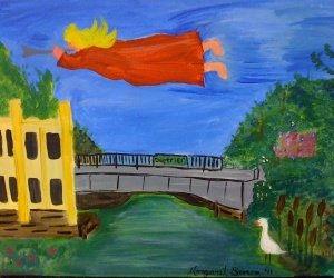 Flying Angel over Duperier Street Bridge, an original painting by Margaret Simon