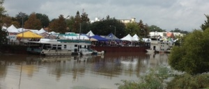 Downtown New Iberia skyline with Gumbo Cook-off tents.