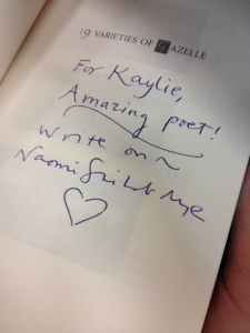 Inscription to Kaylie from Naomi Shihab Nye