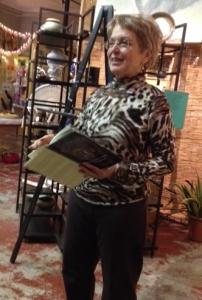 Ava reading at A&E Gallery, November, 2013