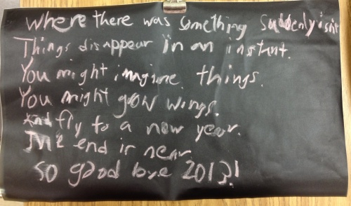 """Goodbye 2013"" by Tyler with a line from ""Burning the Old Year,"" by Naomi Shihab Nye"