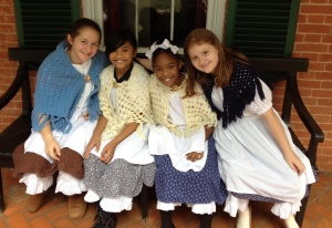 Girls in period costume