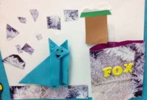 Origami fox in snow