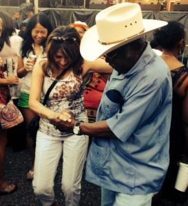 My dance instructor, Lou, dances with legendary Zydeco Joe.