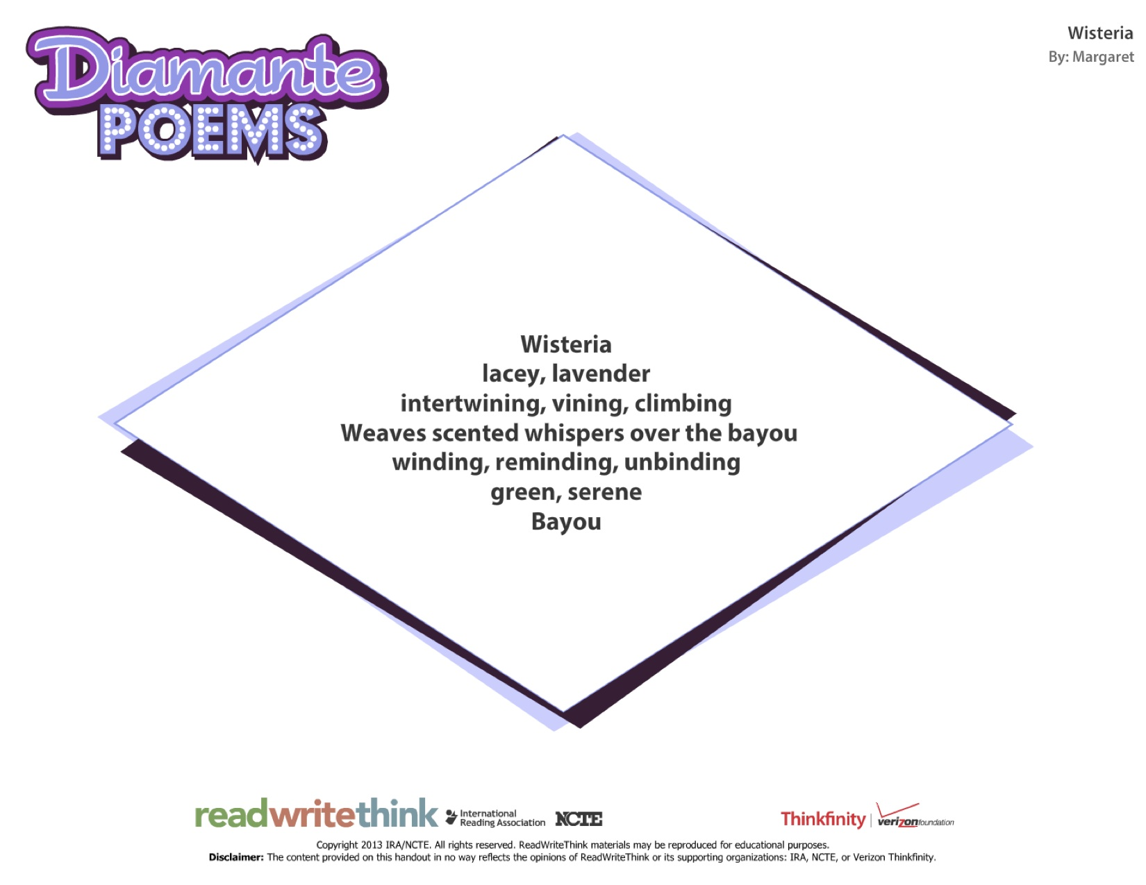 how to write a diamante poem A diamante poem is when line 1 and line 7 are opposites the poem usually resembles a diamond, [hence the name ()] line 1 is one word, what you're writing about.