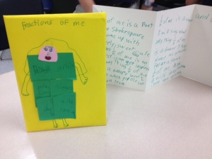 Erin's Fractions of Me accordion book