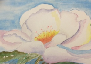 Watercolor magnolia by Margaret Simon.
