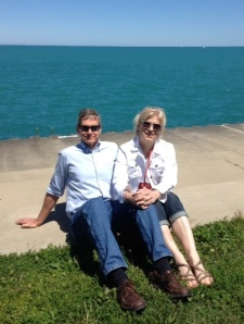 Jeff and I at Lake Michigan celebrating blue.