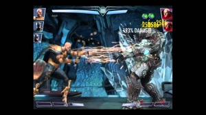 From Injustice Gods Among Us: Black Adam on the left electrocuting Lex Luthor on the right with his lightning attack.