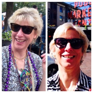 Selfies: old hair style on the left, new on the right.