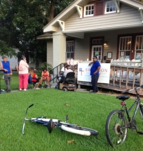 Clients wait for Brown Bag give out at Solomon House.