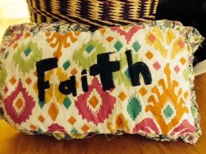 Faith pillow made by Emily.