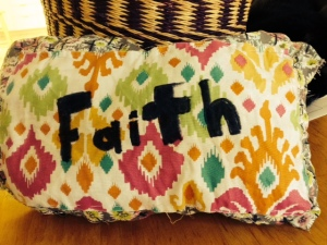 Faith pillow made by Emily.