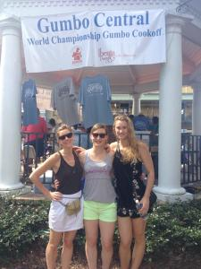 Maggie, Katherine, and niece Claire pose at the Gumbo Cookoff.