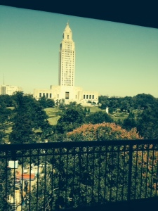 View of the state capitol from the top floor of the state library.
