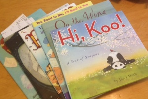 My stack of children's poetry books for judging.