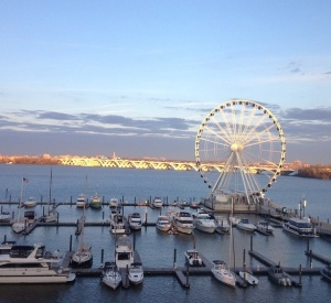 My view of the National Harbor from my hotel room at NCTE.  What a beautiful day!