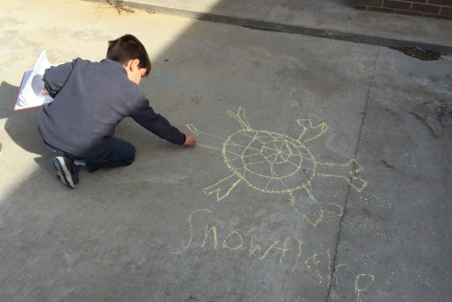 It doesn't snow here, but even so, my students drew snowflakes to symbolize winter.