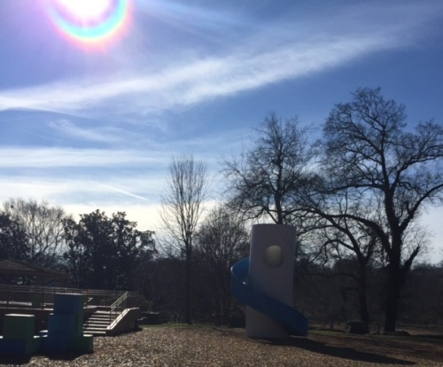The iPhone captured a rainbow around the sun.