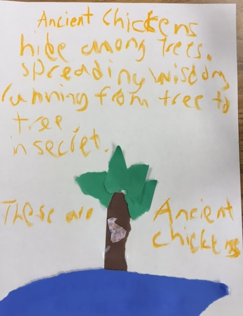 Ancient Chickens hiding among trees spreading wisdom running from tree to tree in secret. These are Ancient Chickens. by Tyler
