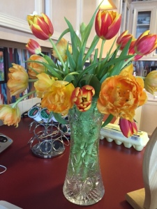 Tulips from the grocery store.  A gift for my mom.