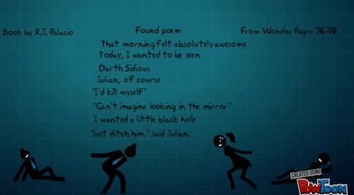 Tobie wrote this poem from the Halloween chapter in Wonder.  He could relate to the black hole August wanted to go into.