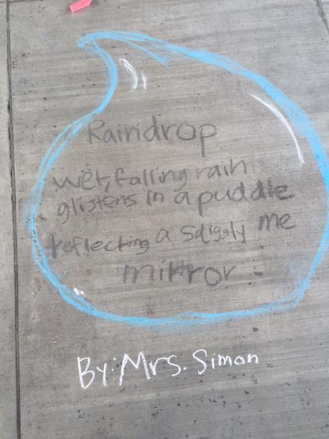 Raindrop chalk poem