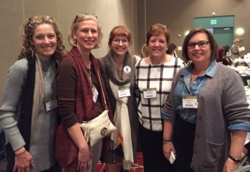 At the Children's Literature Awards Lunch with Julianne Harmatz, me, Laura Purdie Salas, Catherine Flynn, and Heidi Mordhorst.