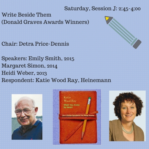 J.02 Write Beside Them (Donald GravesAwards Winners)101CSponsored by the Elementary SectionSteering CommitteeThe presentation will feature three recipientsof NCTE's Donald H. Graves Award for Excellencein the Teaching of Writing. This awa copy