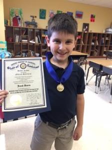 Jacob with his award