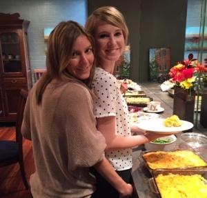 Sisters enjoy the feast.