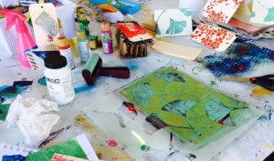 The mess of creative play with gel printing.