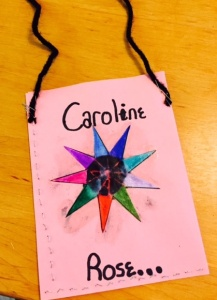"""Lani made her a construction paper purse using a star symbol for """"Starr."""""""