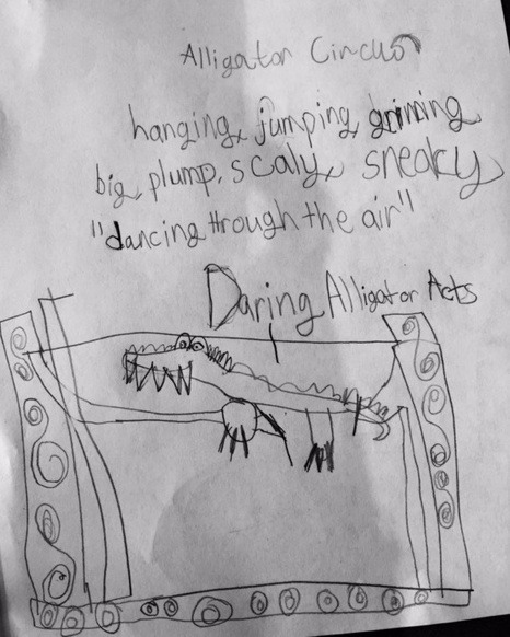 Lynzee wrote about a 3-D piece of an alligator on the high trapeze.