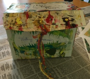 Completed box. I thread a colorful ribbon through a hole to make a decorative pull.