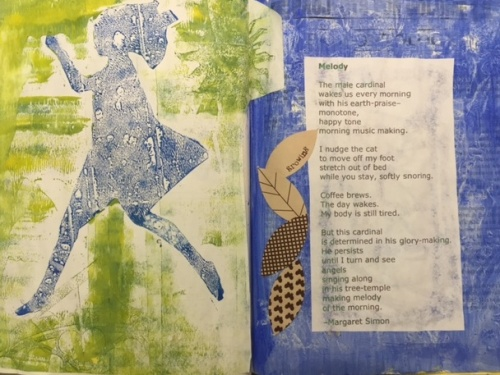 A favorite page using gel printed paper, collage, and a poem.