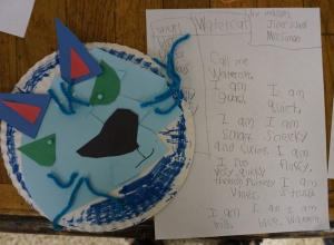 Call me watercat. I am guard. I am smart and curious. I run very quickly through prickly vines. I am big. I am blue. I am sneaky. I am fluffy. I am strong. I am a watercat. by Madison, 2nd grade