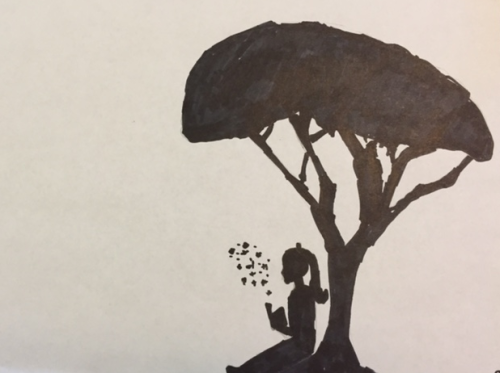 Girl reading under acacia tree by Emily, 6th grade.