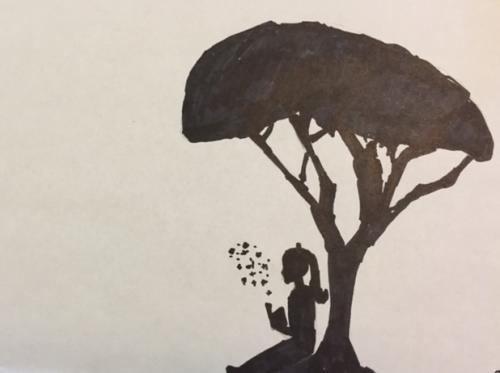 Girl reading under acacia tree by Emily, 6th grade.