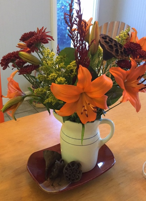 Gorgeous fall flowers for the table.