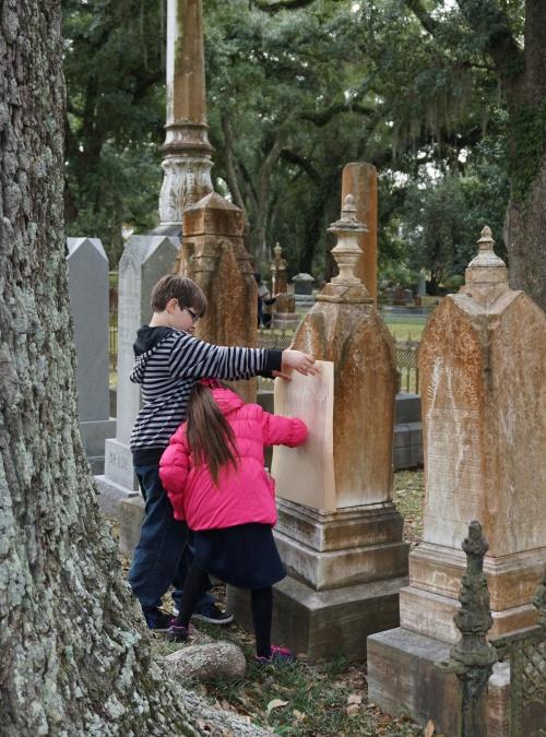 Gravestone rubbings at Grace Episcopal Cemetery, St. Francisville, LA.
